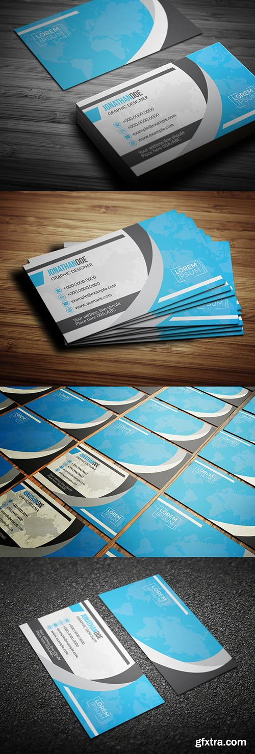 Blue World Map Business Card Layout 203955535