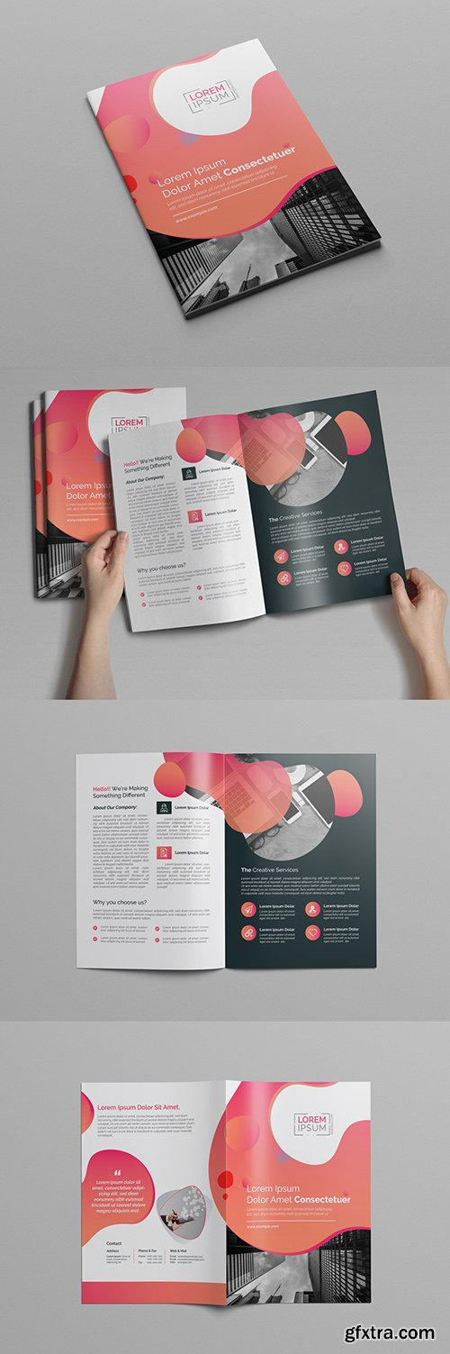 Pink Gradient Bi-Fold Brochure Layout 197550375