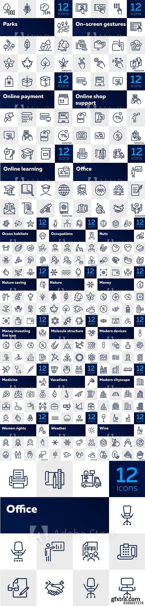 264 Line Icons Set vol3