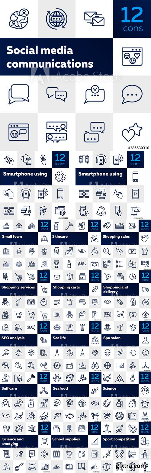 216 Line Icons Set