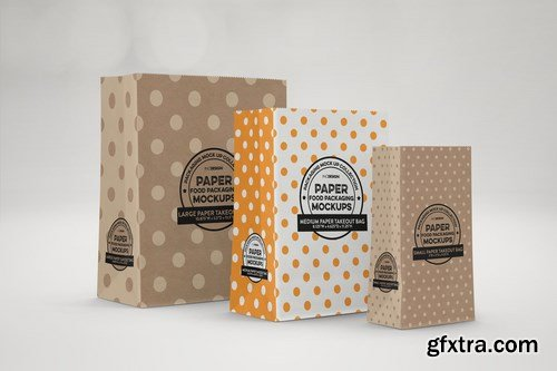 Takeout Paper Bags Packaging Mockup