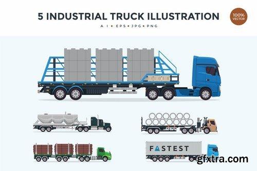 5 Industrial Trailer Truck Vector Illustration 1