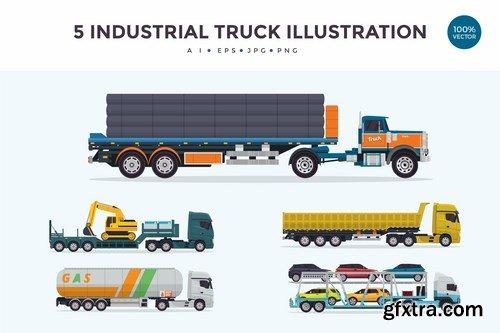 5 Industrial Trailer Truck Vector Illustration 2