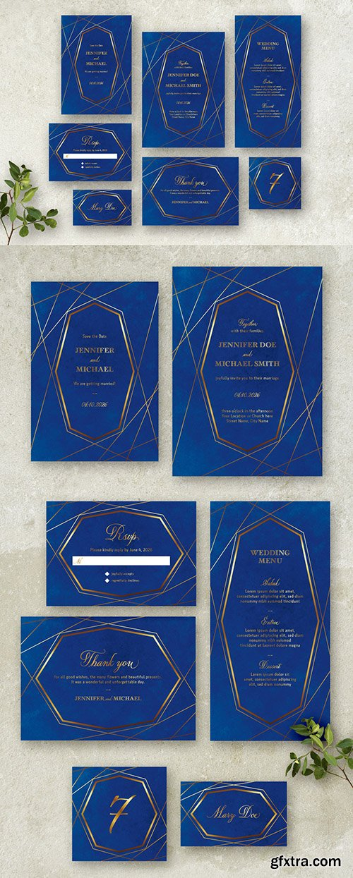Blue and Gold Wedding Stationery Set 260784066