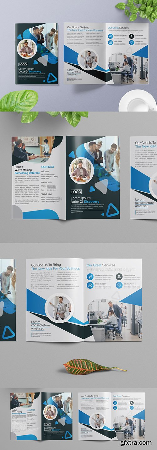 Bifold Business Brochure with Blue Accents 266786770