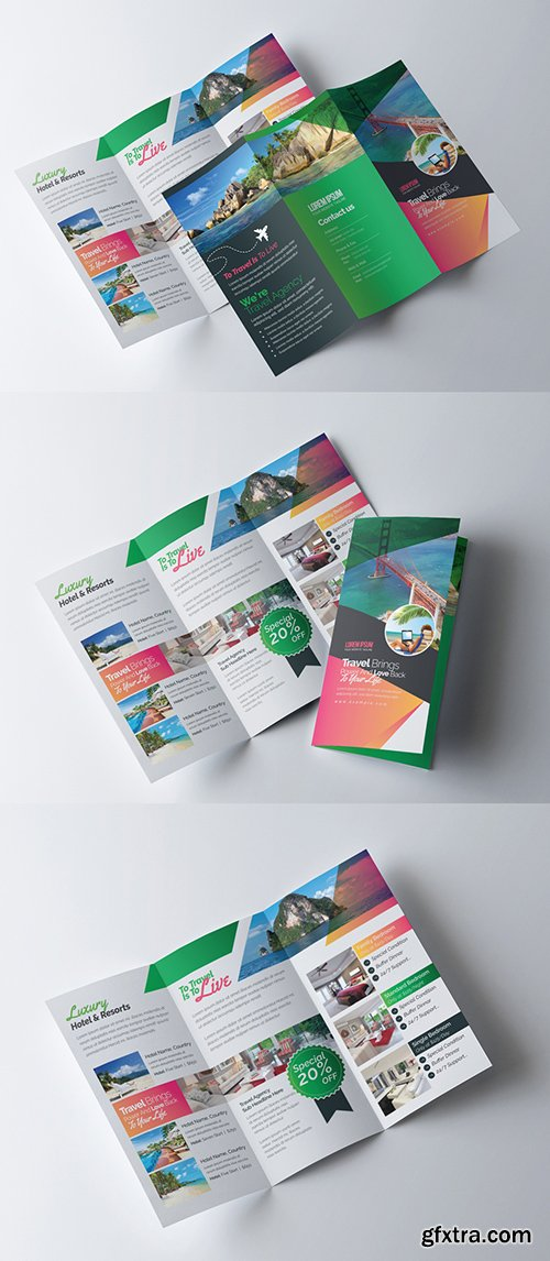 Green and Orange Trifold Brochure Layout 254705142