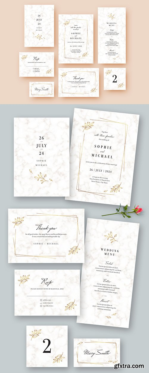 White Marble Wedding Stationery Set 260783886