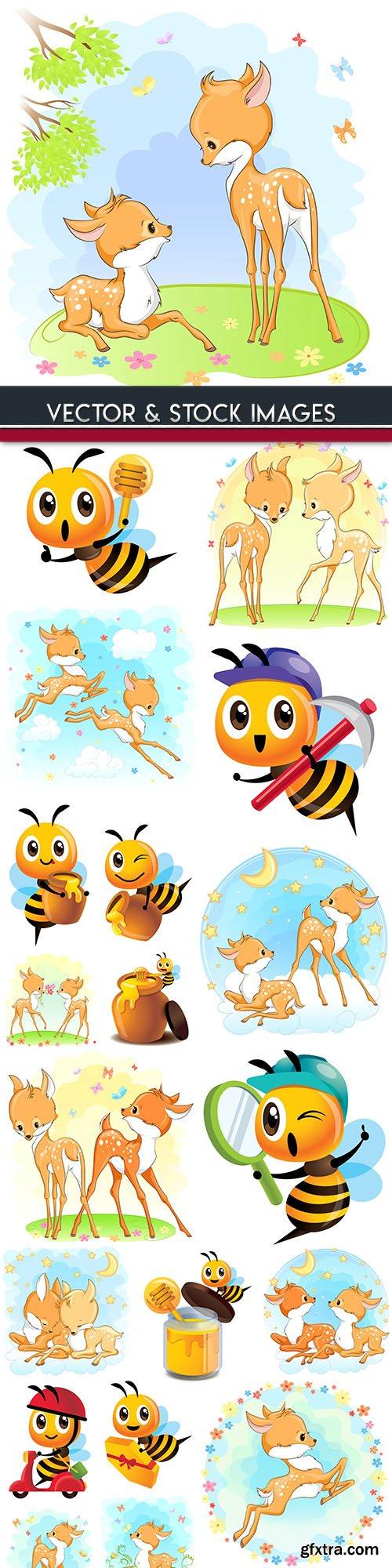 Amusing deer and bee cartoon illustration design