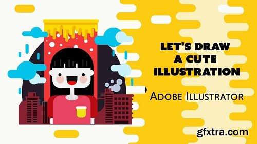 Create a cute Flat Design illustration using Adobe Illustrator