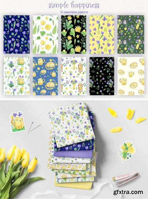 Set of 10 Watercolor Seamless Patterns