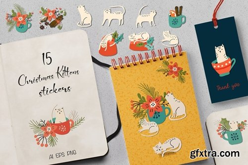 Christmas Kittens Stickers