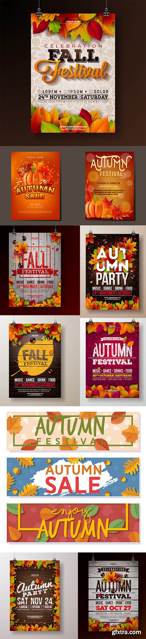 Autumn Festival Flyer and Banner Template Set