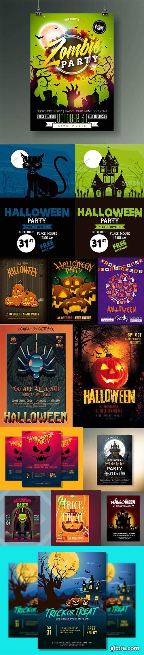 Halloween Party Flyer Template Set