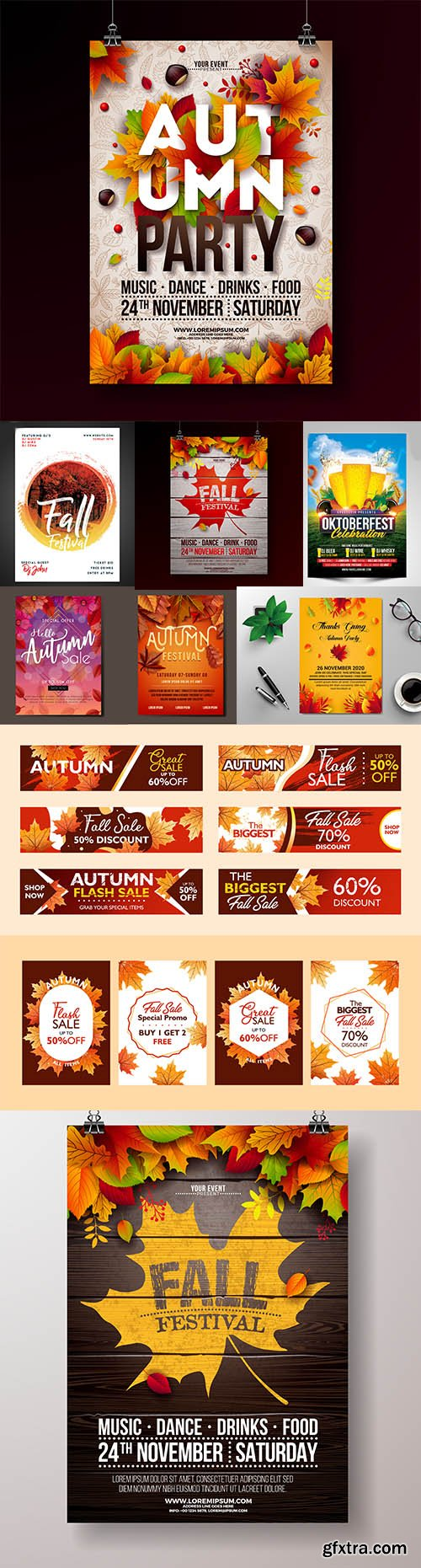 Set of Autumn Party Flyers and Banner Template