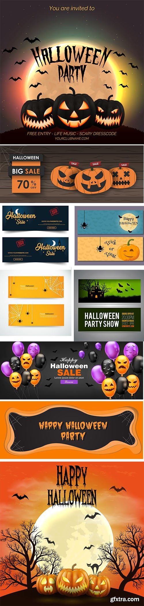 Halloween Poster and Background Banner Vector Illustrations