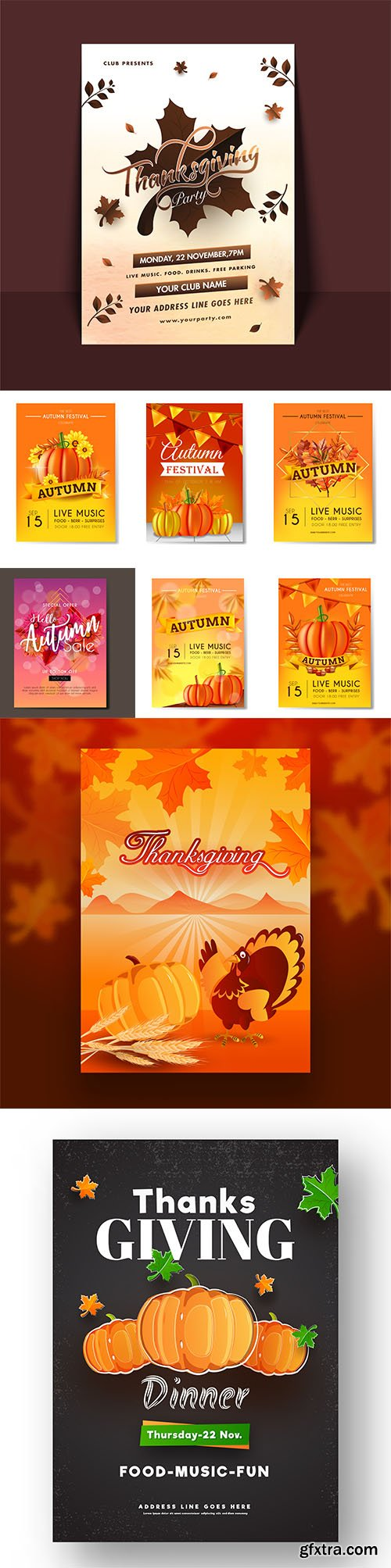 Thanksgiving Celebration and Autumn Flyers