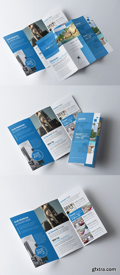 Business Trifold Brochure Layout with Blue Accents 253418544
