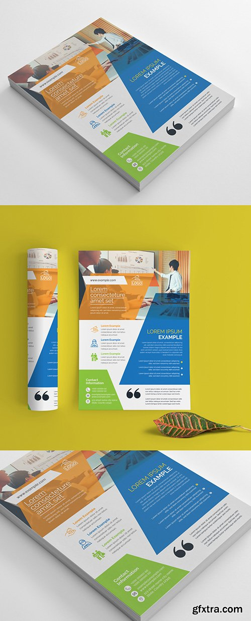 Corporate Flyer Layout with Multicolored Accents 266786817