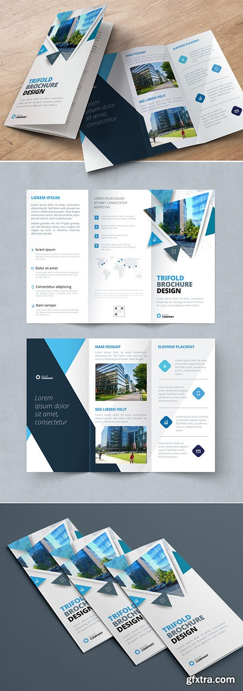 Blue Trifold Brochure Layout with Triangles 267840331