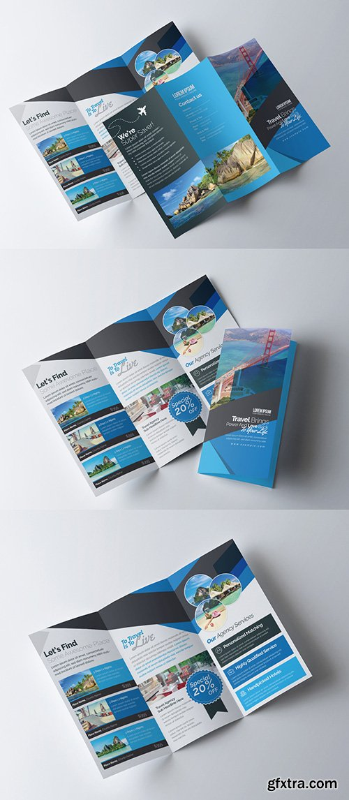 Business Trifold Brochure Layout with Blue Accents 253418530