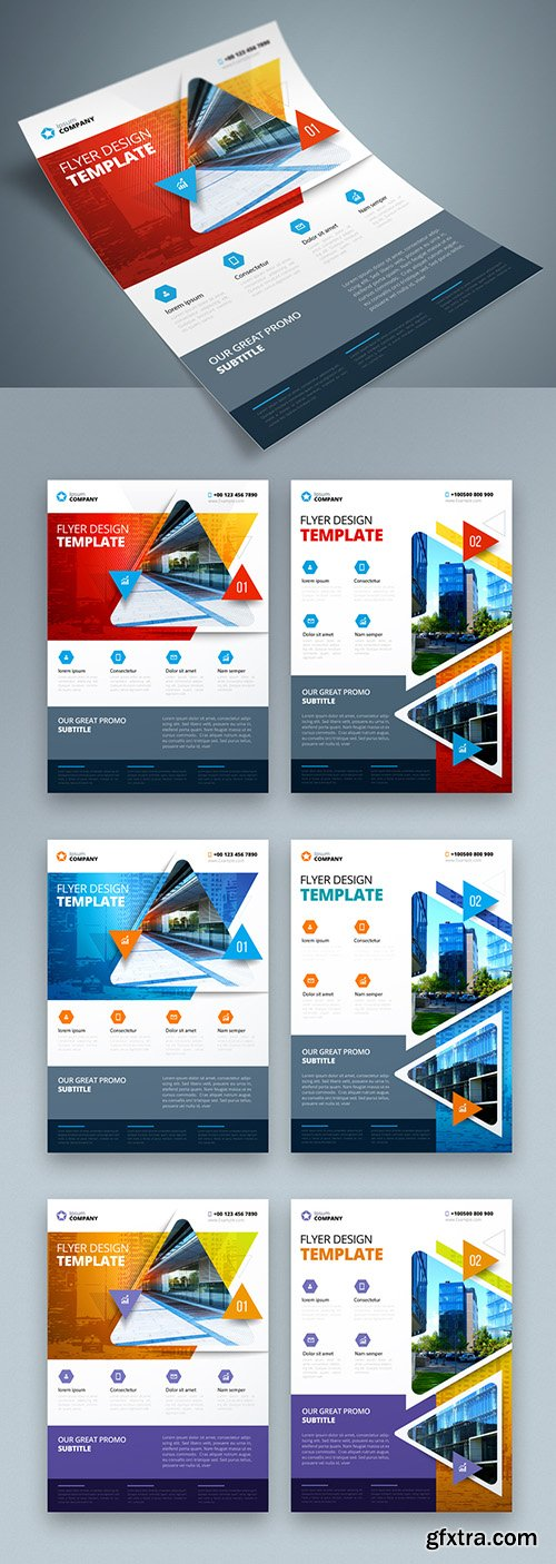 Colorful Business Flyer Layout with Triangle Elements 267840361