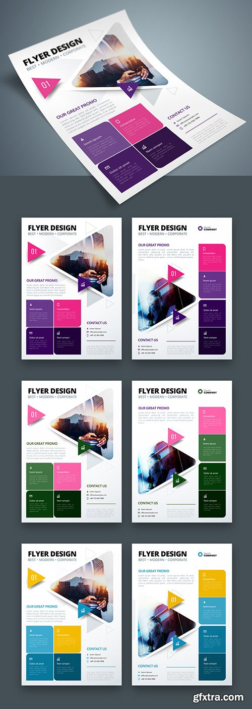 Colorful Business Flyer Layout with Triangle Elements 267840350