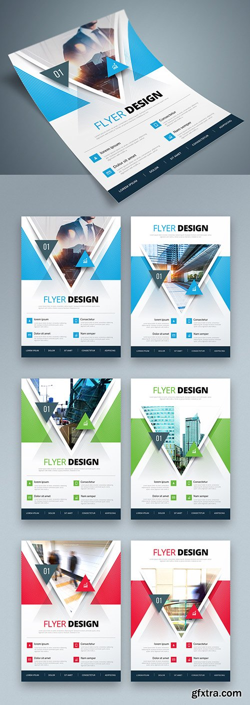 Colorful Business Flyer Layout with Triangle Elements 267840363