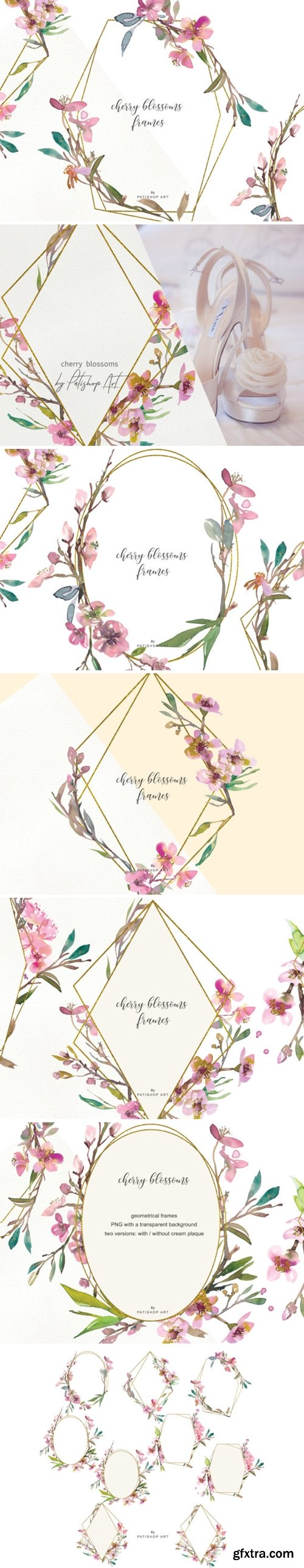 Watercolor Cherry Blossoms Frames 1585475