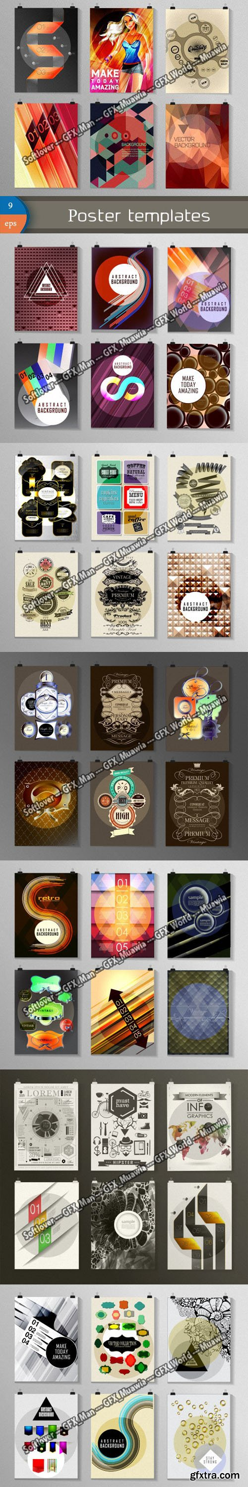 56 Poster Templates Collection in Vector