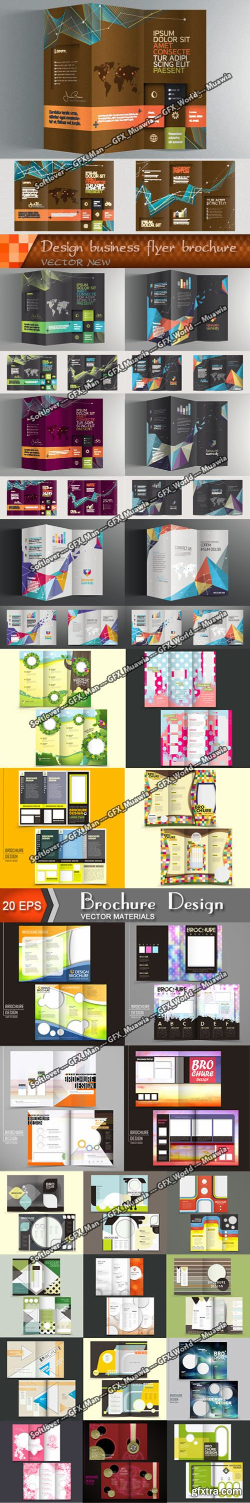 27 Tri-fold Brochure Templates Colection in Vector