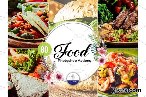 CreativeMarket - 80 Food Photoshop Actions Vol2 3937523
