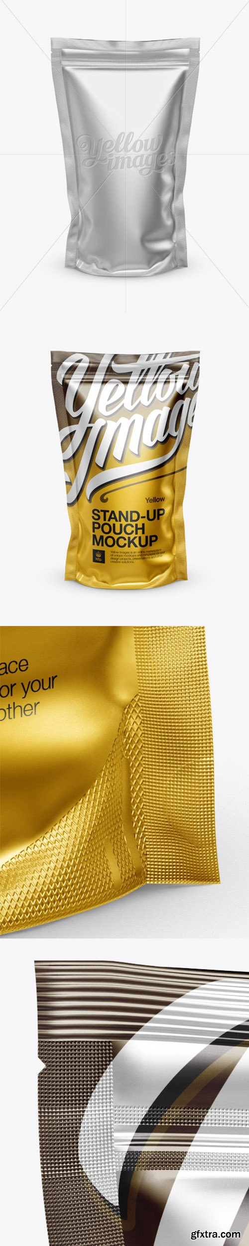 Matte Metallic Stand Up Pouch With Zipper Mock up Front View 13483