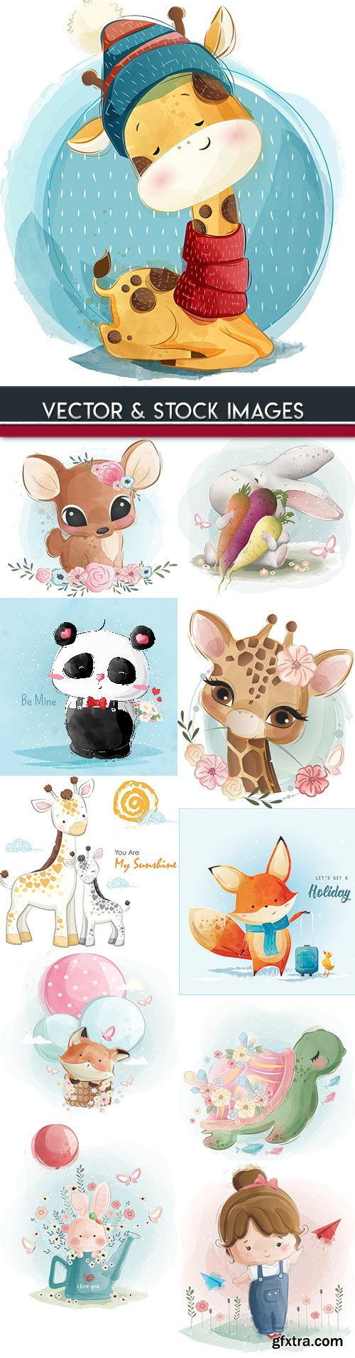 Watercolor drawings small animals and children