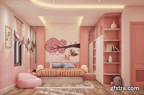 Interior Bedroom Girl Scene Sketchup