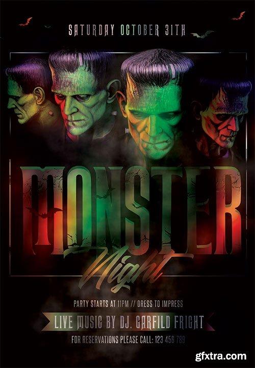 Monster night flyer - Premium flyer psd template