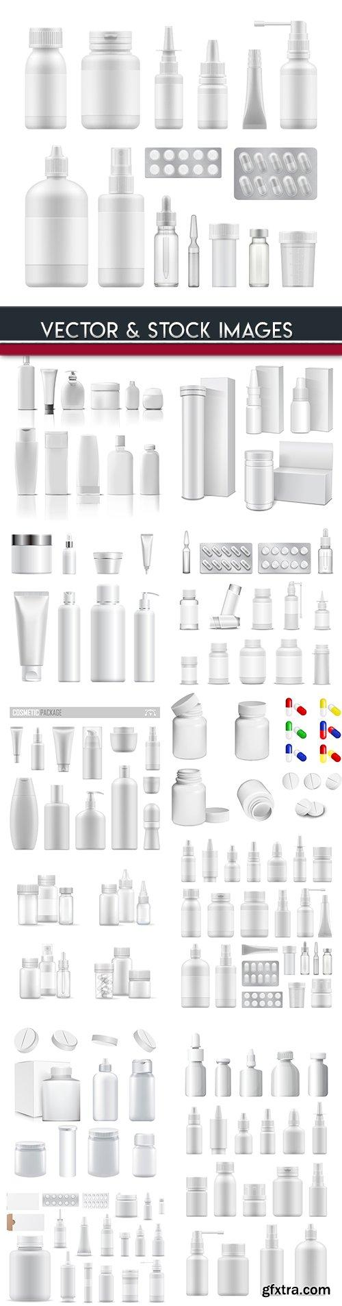 Plastic bottles and medicine package 3d illustration