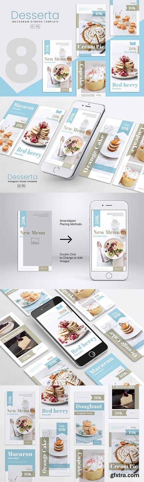 Dessert Bakery Instagram Stories PSD & AI Template