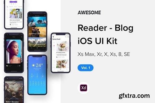 Awesome iOS UI Kit - Reader Blog Vol  1 (Adobe XD) » GFxtra