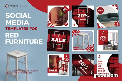Red Furniture Media Banners