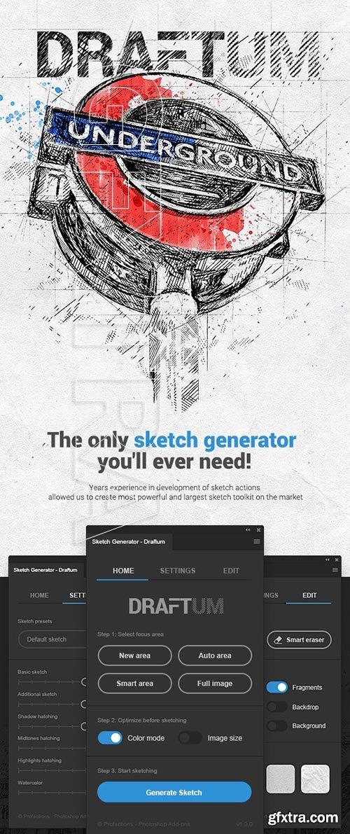 GraphicRiver - Sketch Generator - Draftum - Photoshop Plugin 24508400