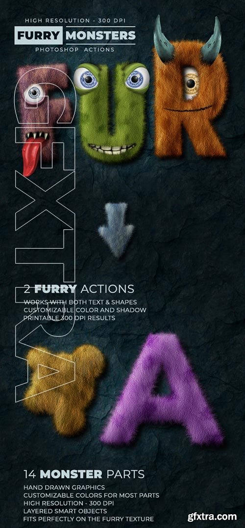 GraphicRiver - Furry Monster Actions - 300 DPI 24518004