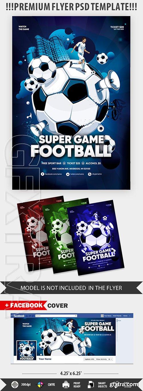 Super Game Football PSD Flyer Template