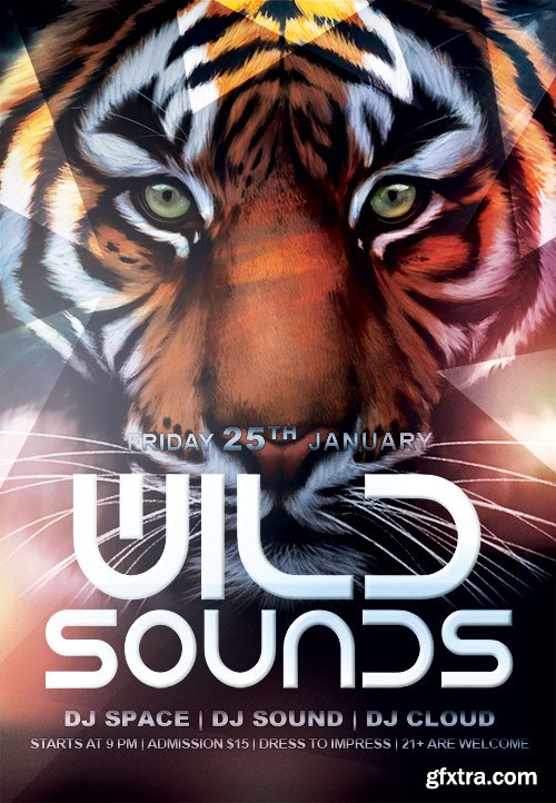 WILD SOUNDS - CLUB AND PARTY FLYER PSD TEMPLATE