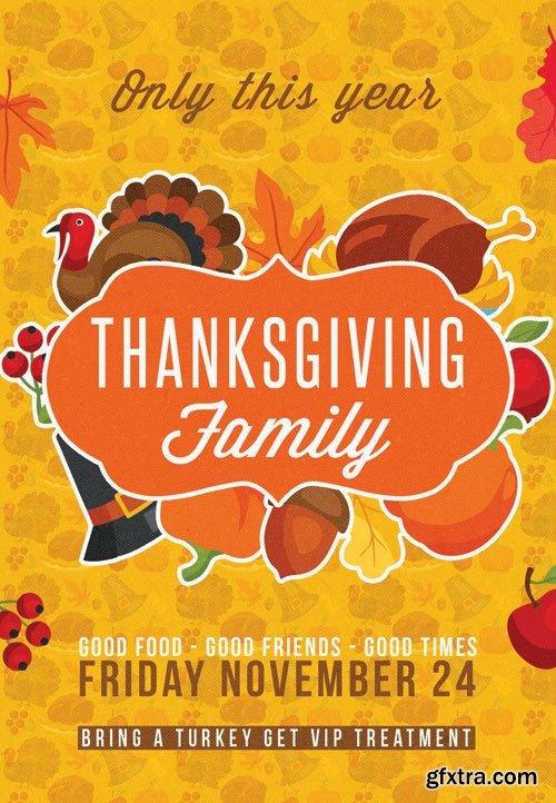 Thanksgiving family party - Premium flyer psd template