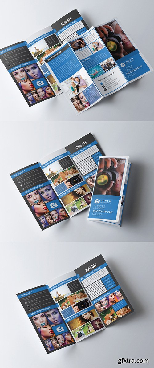 Photography Trifold Brochure Layout with Photo Frame Elements 277926704
