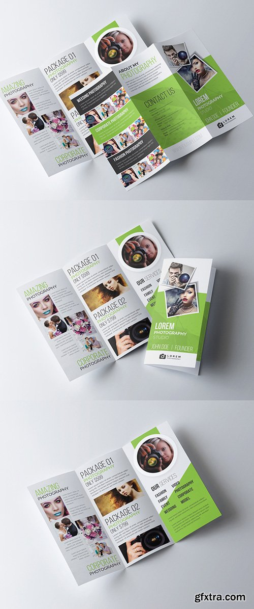 Green Trifold Photography Brochure Template 277926686