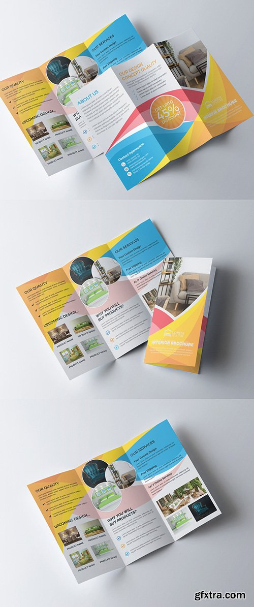 Interior Furniture Trifold Brochure Layout 277926688