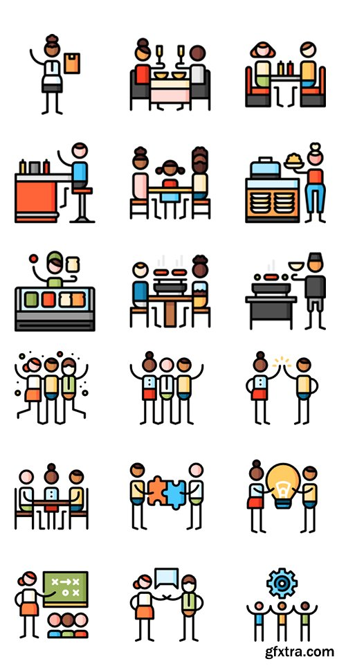 100+ Puppet Characters Lineal Color Vector Icons Set vol2
