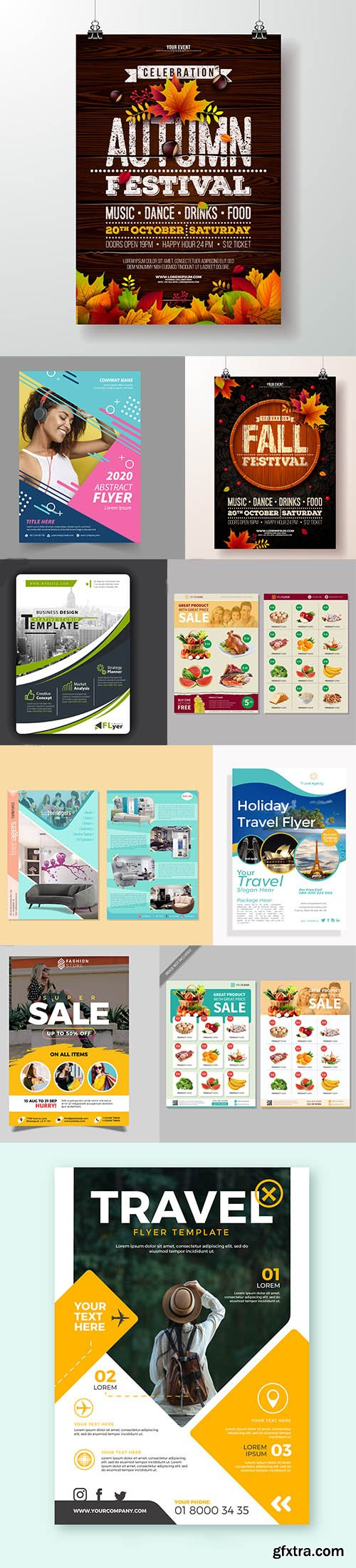 Set of Different Flyers Template