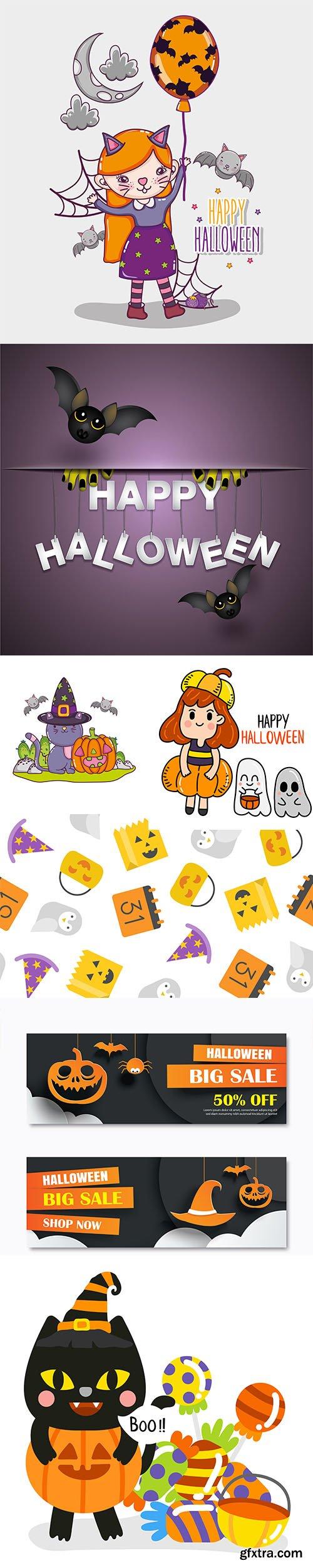 Happy Halloween Illustration Set +Bonus Social Banner and Halloween Pattern